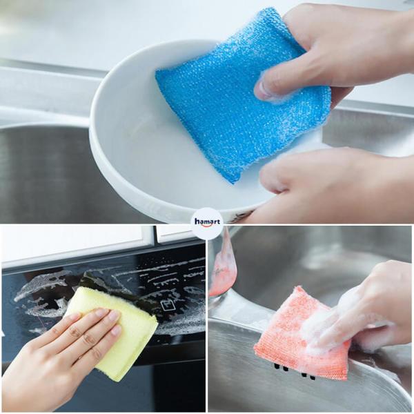 COMBO 4 Miếng Mút Rửa Chén Miếng Rửa Bát Lưới Kim Tuyến Cọ Rửa Đa Năng Tiện Lợi
