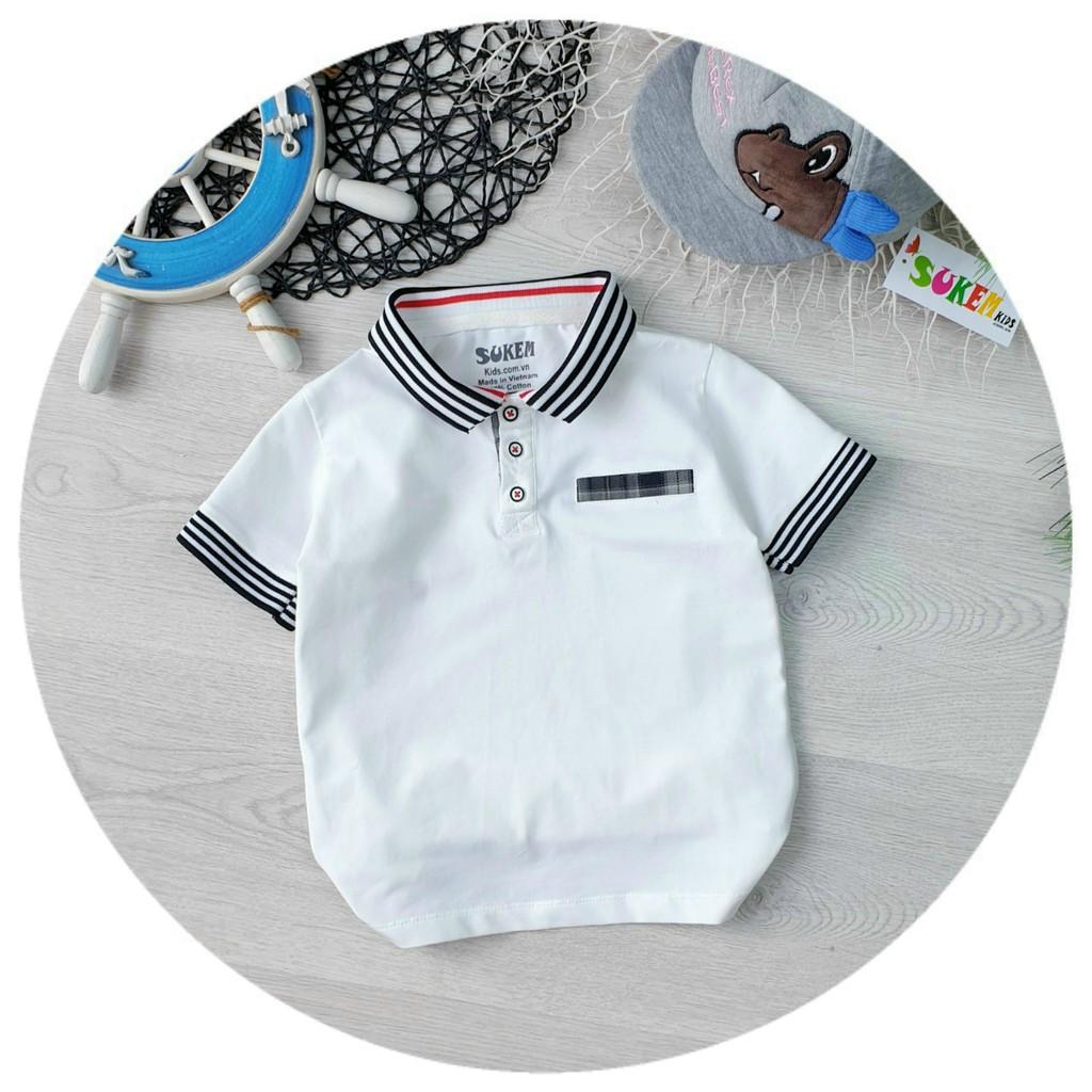 Áo thun cổ trụ cho bé trai size 10-30kg chất cotton 4 chiều mềm mịn mát