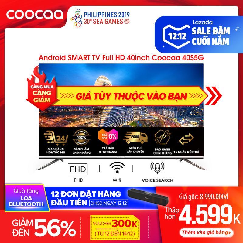 Android SMART TV Full HD Coocaa 40 Inch Tivi - Tràn Viền - Model 40S5G (Bạc) - 43 Tivi Giá Rẻ Chân Viền Kim Loại Giá Quá Ưu Đãi