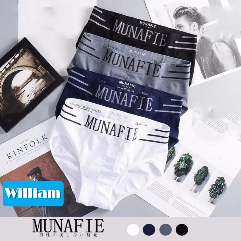 [HCM]Bộ 4 quần lót nam Munafie hàng dệt kim cao cấp (Có túi zip) - Quần sịp tam giác- WS17