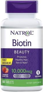 HŨ 60 VIÊN NGẬM Natrol Biotin TỐT CHO DA, MÓNG, TÓC Hair, Skin & Nails, 10,000mcg, VỊ DÂU Strawberry thumbnail