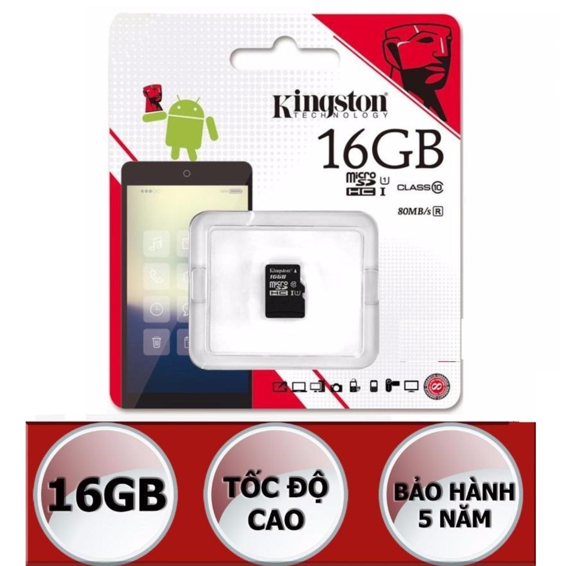 Thẻ nhớ microSDHC Kingston 16GB Class 10 U1 80Mb/s (Đen)