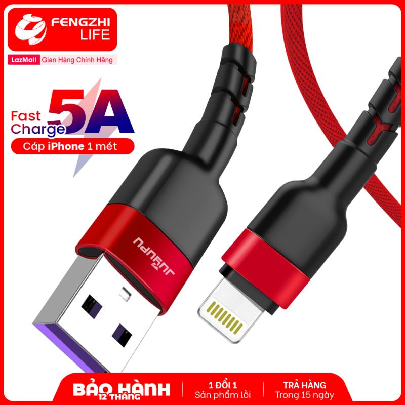 Dây sạc nhanh iPhone Micro Type C dòng điện 5A chất liệu dù cao cấp đầu chống gãy dài 1 mét chính hãng JUYUPU TS-29 đỏ phù hợp thêm cho các điện thoại Samsung OPPO Vivo HUAWEI XIAOMi dây sạc