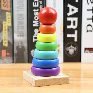Đồ chơi trẻ em thông minh bộ xếp tháp cầu vồng size nhỏ bằng gỗ cao cấp nhiều màu sắc hấp dẫn cho bé từ 1 tuổi trở lên phát triển trí thông minh và tư duy logic thumbnail