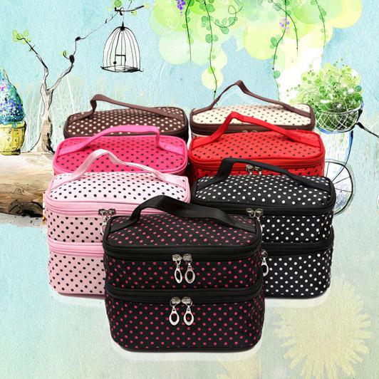 Túi đựng mỹ phẩm đồ trang điểm chấm bi hai tầng túi ulzzang .Phong cách Hàn Quốc( nhiều màu)