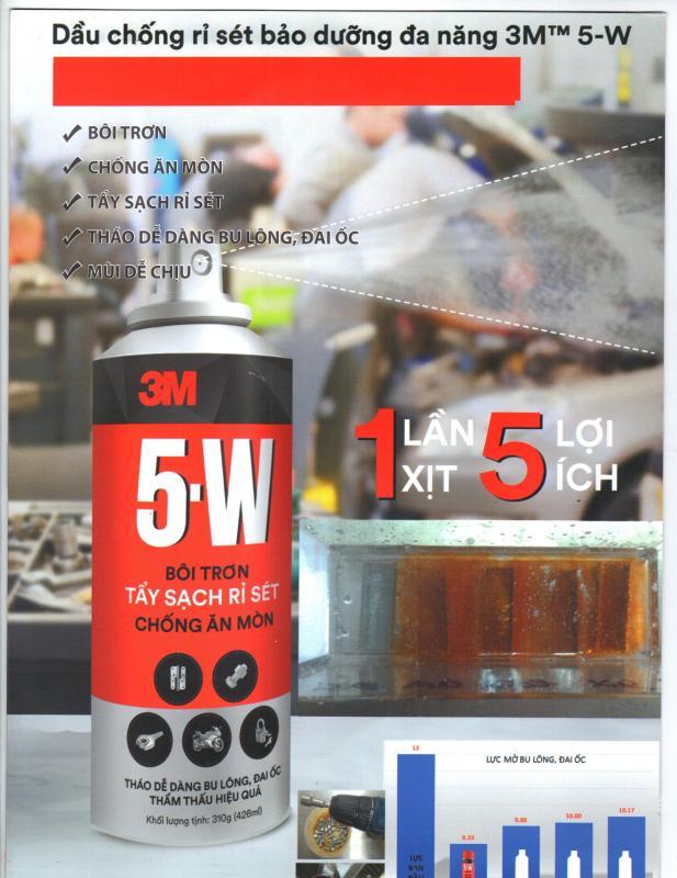 Dầu chống rỉ sét bảo dưỡng đa năng 3M 5-W 310g (chai lớn): bôi trơn, chống ăn mòn, tẩy sạch rỉ sét, tháo bulong, mùi dễ chịu