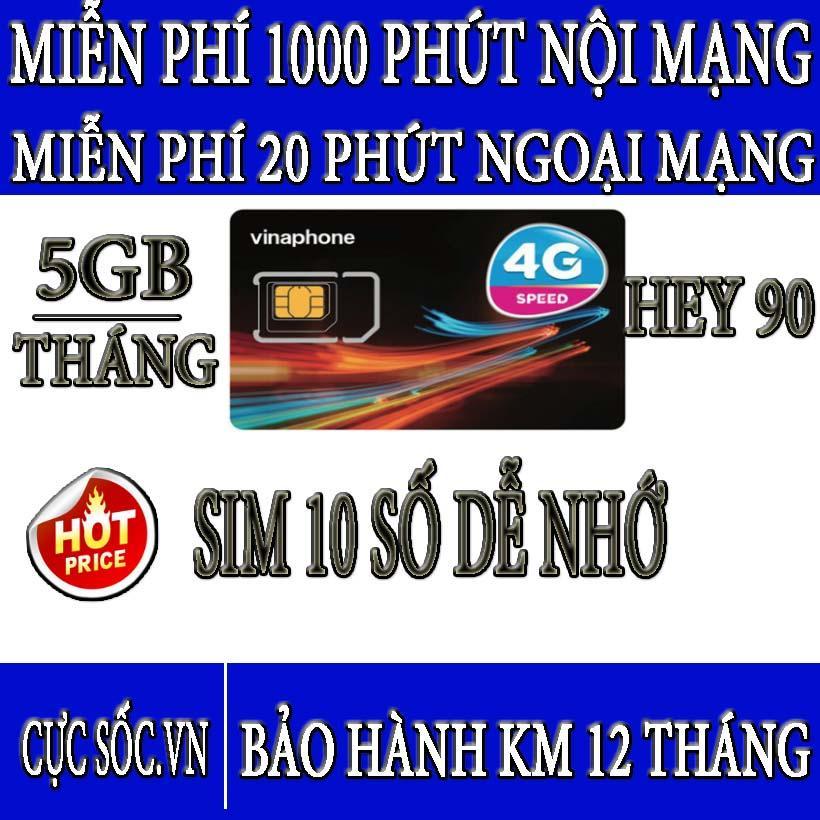 Mã Khuyến Mại Sim 4G Vinaphone HEY90 - Tặng 5GB/Tháng + Gọi Miễn Phí Nội Mạng + Ngoại Mạng
