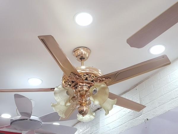 Quạt trần đèn cánh thẳng QTDG518 quạt trần phòng khách, quạt trần có đèn