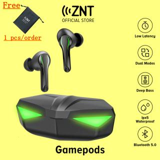 Tai nghe chơi game không dây ZNT GamePods Gaming Bluetooth 5.0 TWS Bộ chip PixArt độ trễ thấp Âm trầm tuyệt vời Chế độ chơi game nghe nhạc Tích hợp Micrô Đèn Led lấp lánh dành cho PUBG ESPORTS Game thủ thumbnail