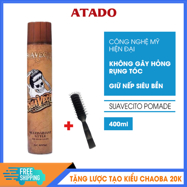 [Có Video Review] Gôm xịt tóc nam Suavecito 400ml ATADO - Keo vuốt tóc công nghệ Mỹ, giữ nếp 8h, đem lại mái tóc bồng bềnh chắc khỏe - Tặng lược tạo kiểu Chaoba 20k giá rẻ