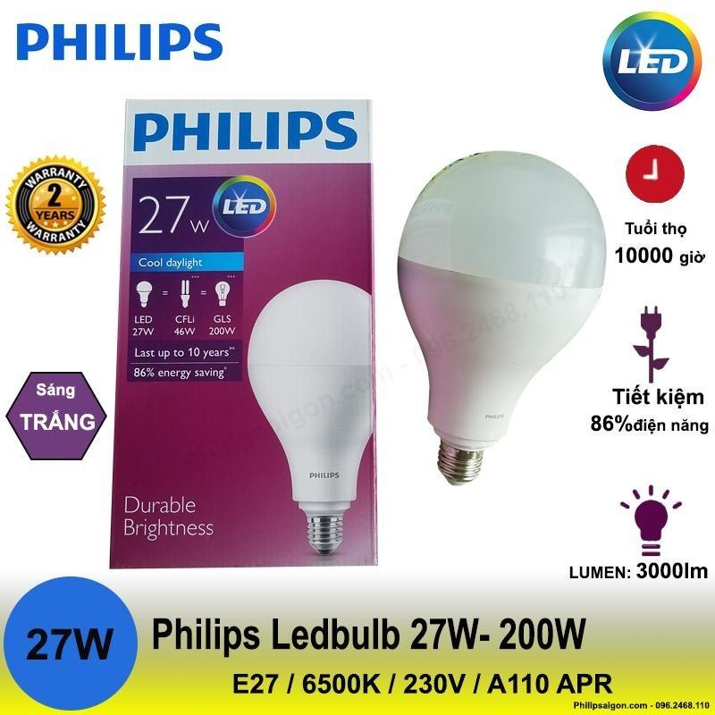 Bộ 3-2-1 đèn Philips LEDBulb 27W - 200W E27 6500K 230V A110 APR