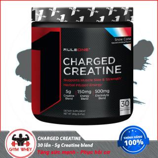 Tăng sức mạnh , tăng cơ bắp , hổ trợ khả năng giữ nước trong cơ RULE1 CHARGED CREATINE (240gram) 30servings Từ Mỹ thumbnail