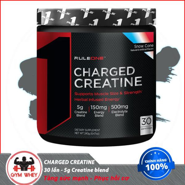 [Lấy mã giảm thêm 30%]Tăng sức mạnh  tăng cơ bắp  hổ trợ khả năng giữ nước trong cơ RULE1 CHARGED CREATINE (240gram) 30servings Từ Mỹ
