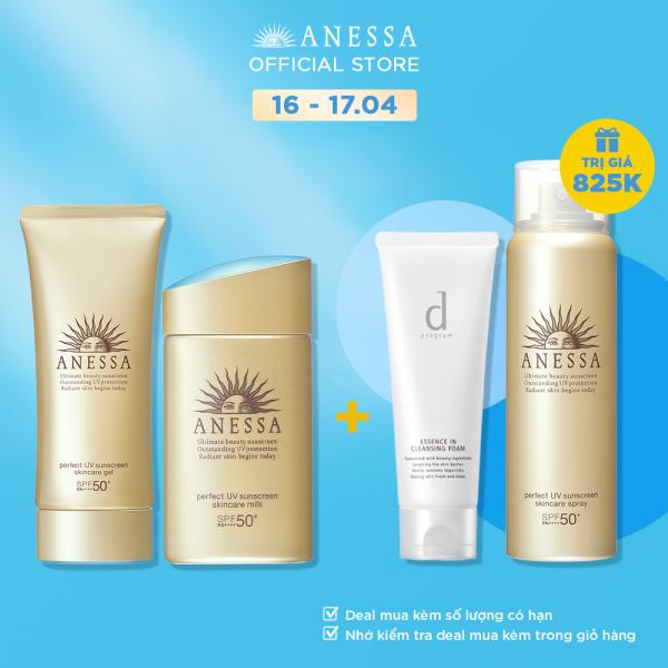 [MUA 1 TẶNG 2] Bộ kem chống nắng Anessa dưỡng da và bảo vệ hoàn hảo cho da mặt, toàn thân và tóc ( ANESSA PUV Skincare Gel 90g SPF 50+ PA++++, Spray 60g SPF 50+ PA++++, Gold Milk SPF 50 PA++++ )