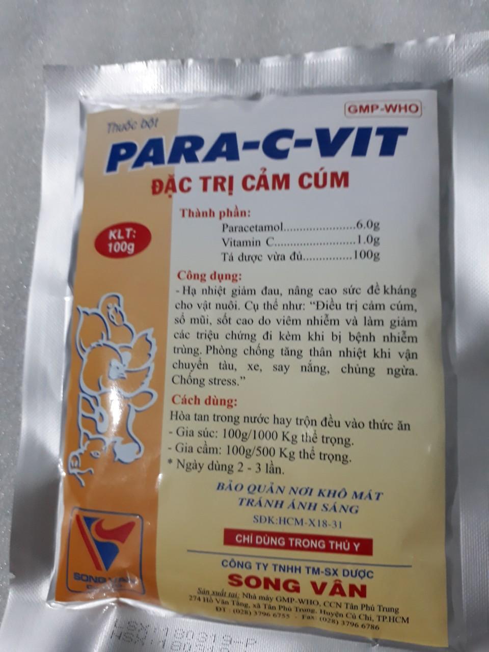 Coupon Ưu Đãi PARA-C-VIT ĐẶC TRỊ CẢM CÚM GÀ VỊT, CÚT