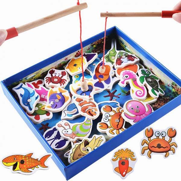 Bộ đồ chơi câu cá nam châm bằng gỗ 32...
