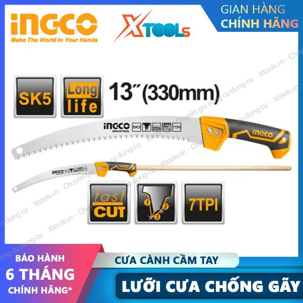 Cưa cành cầm tay lưỡi cong 13 INGCO HPS3308 cưa gỗ chuyên dụng siêu sắc bén, lưỡi cưa chống cong gãy, chống rỉ sét.