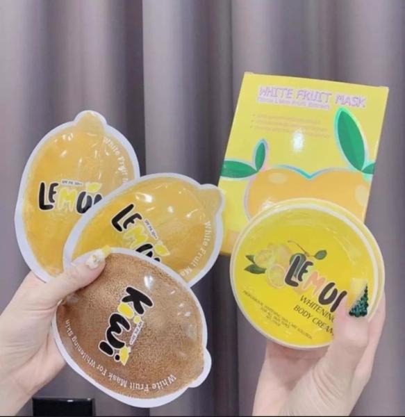 (Chính hãng QLADY-mẫu mới) combo Ủ TRẮNG CHANH PHIÊN BẢN MỚI VÀ KEM BODY QLADY - Lemon White Fruit Mask cao cấp