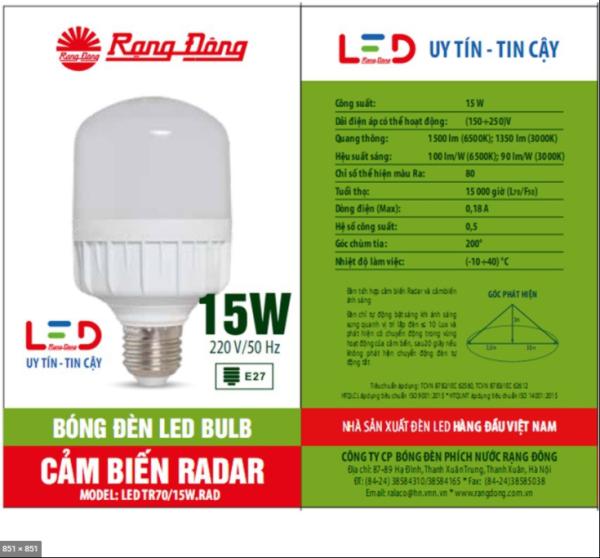 Đèn LED Cảm Biến Chuyển Động 7W-15W Rạng Đông, ChipLED Samsung