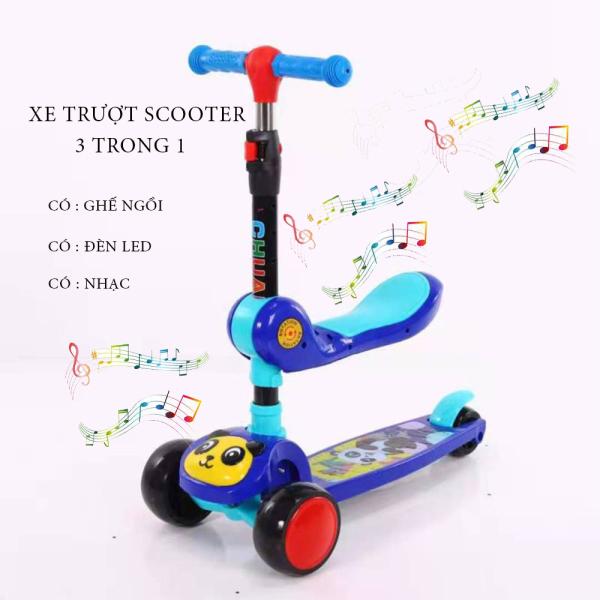 Xe Trượt Scooter - Bánh Phát Sáng Cho Bé Từ 3 - 8 Tuổi - Tải Trọng Lên Đến 100kg - Xe Trượt 3 Bánh - Đồ Chơi Hoạt Động Ngoài Trời Cho Bé