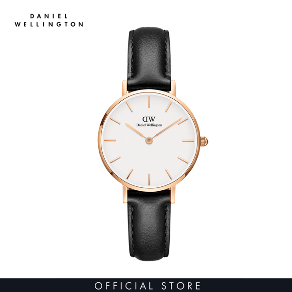 Đồng hồ Nữ Daniel Wellington dây da - Petite Sheffield mặt trắng - vỏ vàng hồng