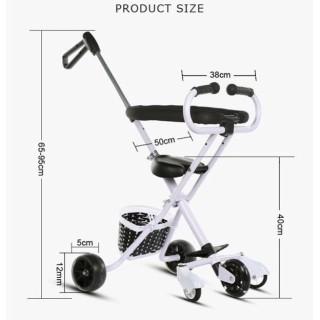 Xe đẩy 5 bánh xe có tay cầm cho bé - Xe đẩy trẻ em gấp gọn dễ dàng mang theo - Xe đẩy bé có giỏ tiện lợi thumbnail