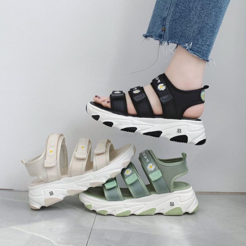(VIDEO thật) Sandal nữ 3 quai ngang độn đế thêu qua cúc sandal vải dép nữ Shyn Store giá rẻ