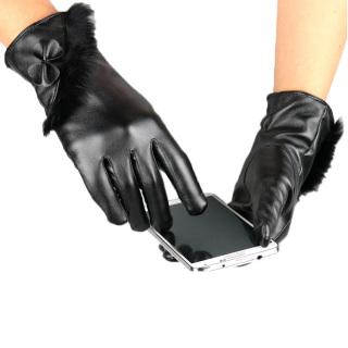 Găng tay da nữ, găng tay nữ, bao tay nữ giữ ấm cảm ứng điện thoại chống nước họa tiết dải lông thời thượng cực chất TOPEE DL01 thumbnail
