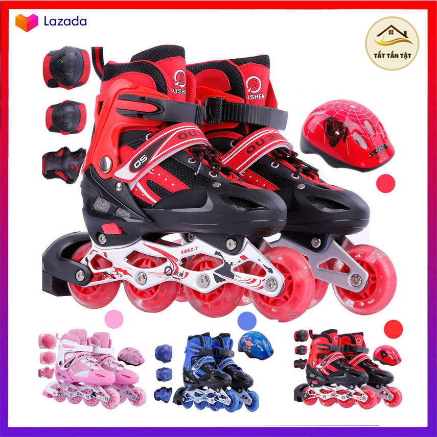 Mua Giày Trượt Patin Tặng Kèm Mũ và Phụ kiện Bộ Bảo Hộ Chân Tay,  Đồ Chơi hoạt động ngoài trời, tăng Cường thể chất cho bé