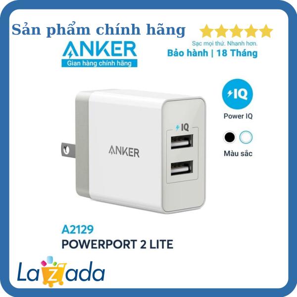 [Hàng Chính Hãng] Sạc ANKER PowerPort 2 Lite 2 cổng PowerIQ 12W - A2129