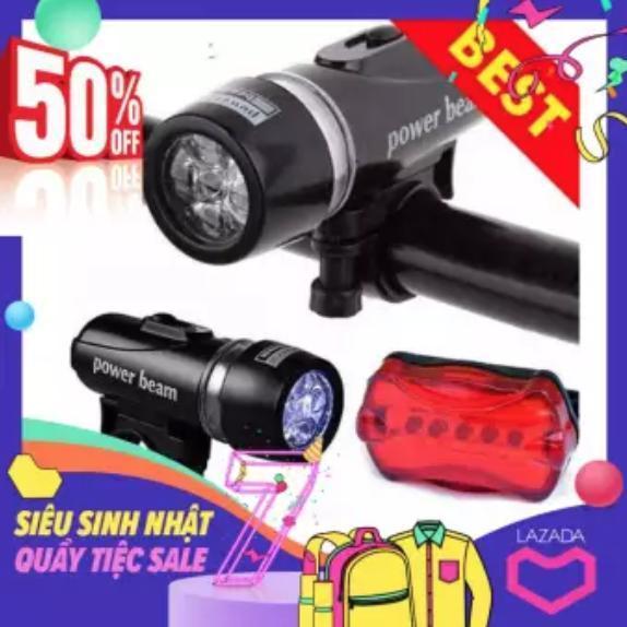 Bộ đèn pin gắn xe đạp và đèn chiếu hậu 5 LED WJ-101 (Đen đỏ) - Nem Exclusive