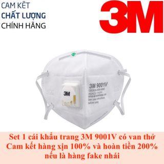 Khẩu trang 3M 9001V chất liệu vải không dệt cao cấp, có van thở 1 chiều, chống bụi siêu mịn PM2.5, chống các loại bụi gây hại cho hệ hô hấp, chống virus cảm cúm thumbnail