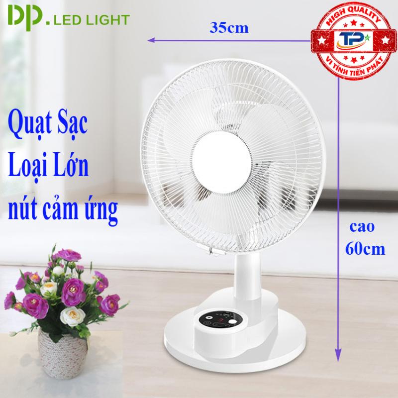 Quạt bàn sạc tích điện DP DP-1435 tích hợp đèn LED chiếu sáng đèn ngủ- loại quạt lớn gió rất mạnh, nút bấm cảm ứng, quay qua quay lại.