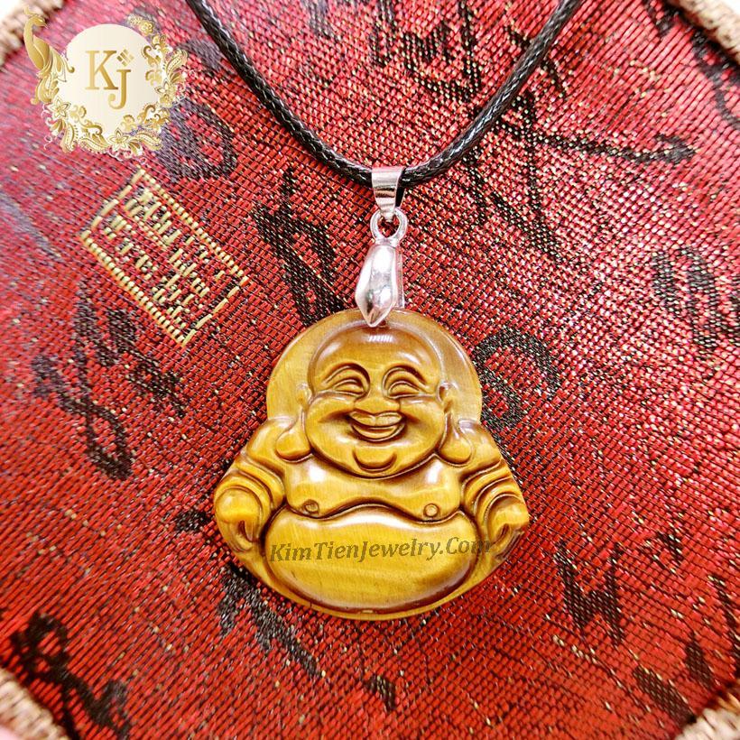Dây Chuyền Phật Di Lặc Đá Thạch Anh Mắt Hổ ( Ngang: 2,3 cm x Cao : 2,8 ) -  Vị Phật Mang Đến Niềm Vui - Sự Bình An - Tặng Kèm Dây - Kim Tiền Jewelry
