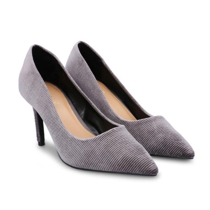 Giày cao gót bít mũi Girlie S30044 màu xám-đen giá rẻ