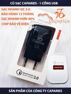 [HCM]CỦ Sạc CAPARIES Quick Charge 3.0 Siêu Bền 1 USB - Chống Nóng Đúc Nguyên Khối Sạc Nhanh 3.0 Thương Hiệu CAPARIES sạc nhanh quickcharge 3.0 tương thích tất cả các dòng máy thumbnail