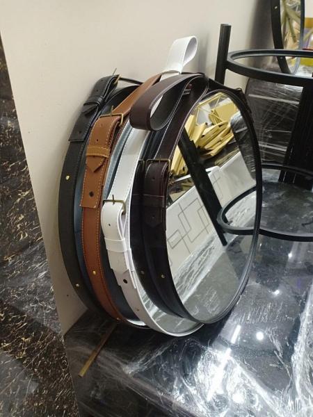 [FreeShip – Xả kho 1 ngày] Gương tròn viền dây da treo tường (Size  D50) - DecorHome360