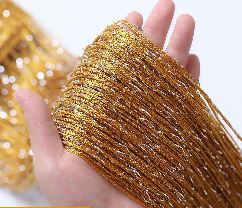 Rèm sợi chỉ kim tuyến lấp lánh màu vàng gold khổ 3m*3m Màn sợi trang trí nhà hàng, tiệc cưới, party, decor cửa hàng RS02