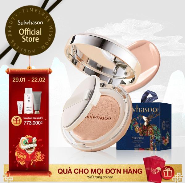 [Holiday Collection 2020] Phấn nước trang điểm dưỡng ẩm & che phủ hoàn hảo Sulwhasoo Perfecting Cushion 15Gx2 giá rẻ