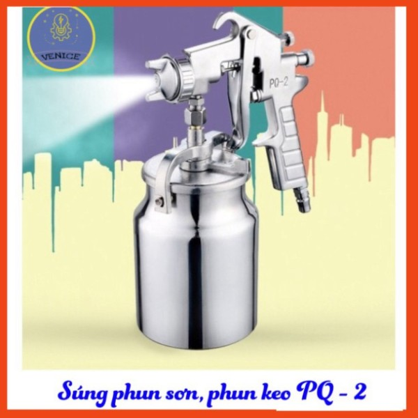 Súng phun sơn, phun keo PQ-2 - Dùng máy nén khí - Phân phối chính hãng - Bảo hành 12 tháng