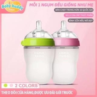 Bộ 2 bình sữa comotomo 250ml silicon cao cấp chống bể, chống sặc, chống đầy hơi. Mô phỏng bầu ngực mẹ. (1 xanh,1 hồng) thumbnail
