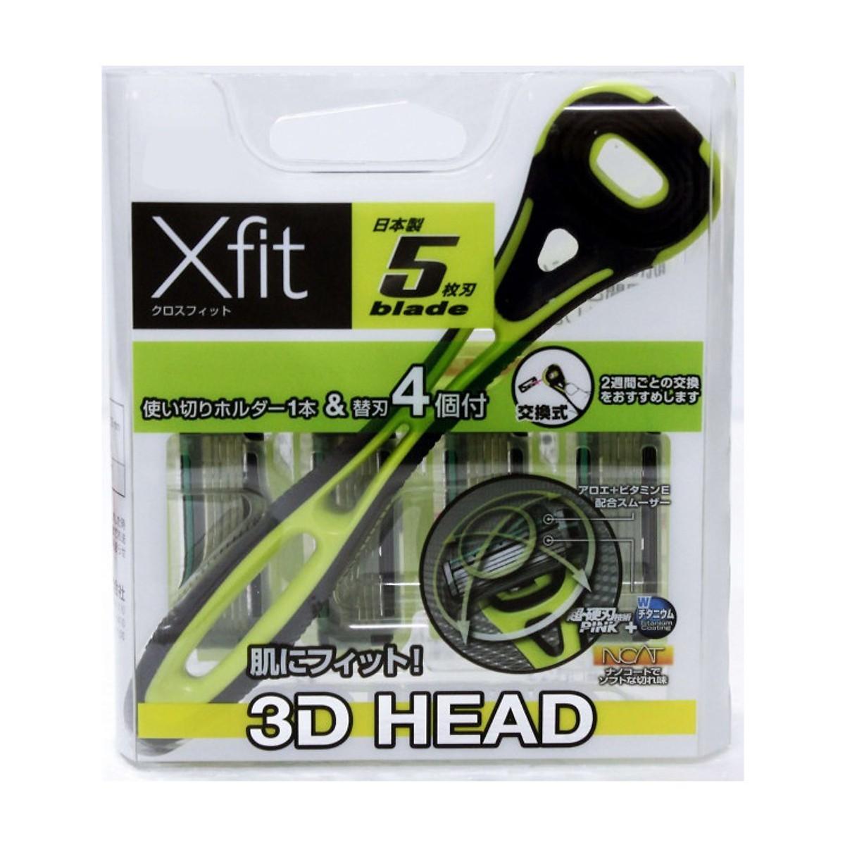 Bộ Dao cạo râu 5 lưỡi kép Xfit (1 thân, 4 lưỡi thay thế) Hộp vuông hàng Nhật Bản tốt nhất