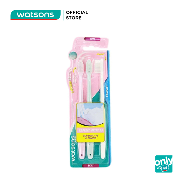 Bàn Chải Đánh Răng Watsons Standard Compact Toothbrush Mềm Nhỏ Gọn 3 Cái cao cấp