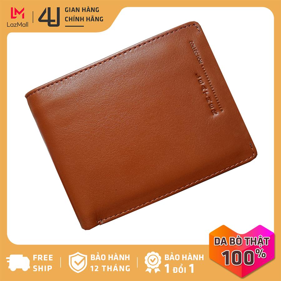 Bóp ví nam da bò thật 4U cao cấp, có nhiều ngăn đựng tiền và thẻ tiện dụng để vừa túi quần, thiết kế dáng đứng thời trang FA184B (Bò)