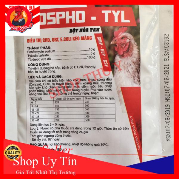 Fospho-Tyl Gói 100g - Dùng Cho Gà Bị Khò Sổ Mũi - Ecoli Kéo Màng-CRD-Tụ Huyết Trùng Cao Cấp