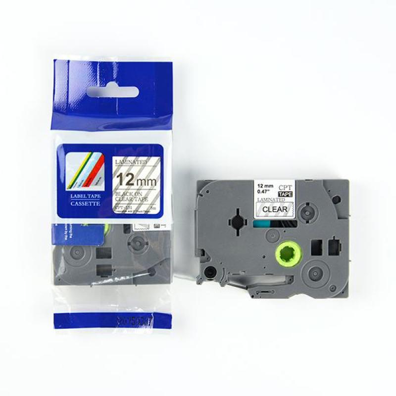 Nhãn in CPT-131 tương thích máy in nhãn Brother P-Touch - Nhãn in chữ đen nền trong suốt 12mm