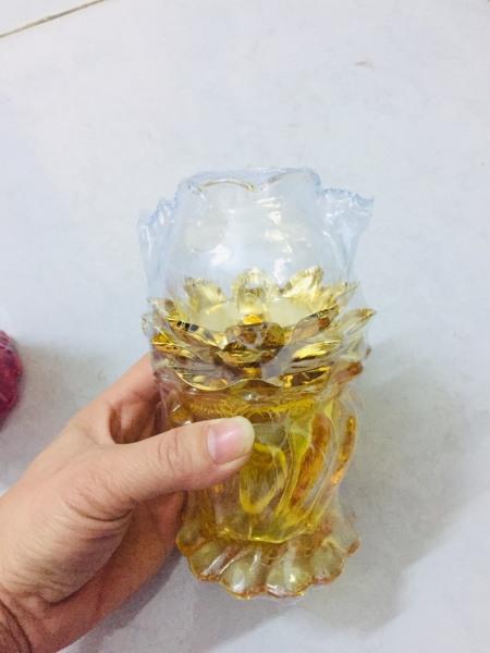 Đèn dầu thờ hoa sen thân xoắn