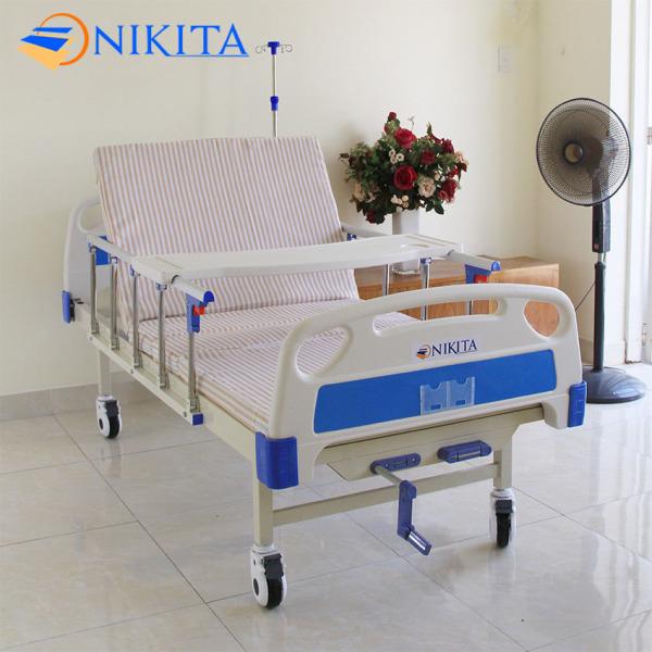 Giường bệnh - Giường y tế chính hãng NIKITA DCN02 - Đa chức năng - Nâng hạ Chân, đầu - Bàn ăn - Đệm sơ dừa chống lở loét