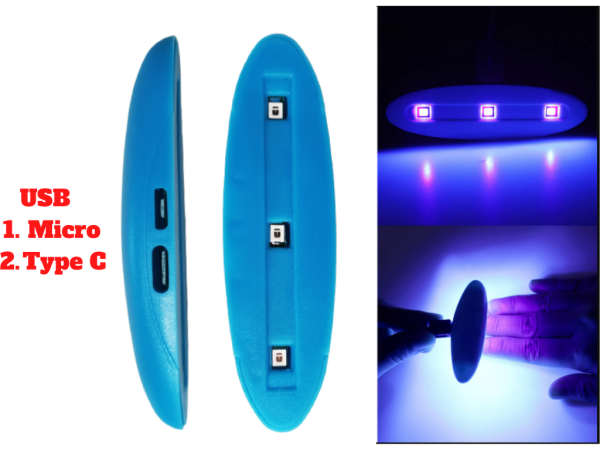 Bảng giá Đèn Uv Led Mini Sun 3 Bóng 3W Sấy Keo Uv, Sấy Móng Tay Hỗ trợ cổng USB C và Micro