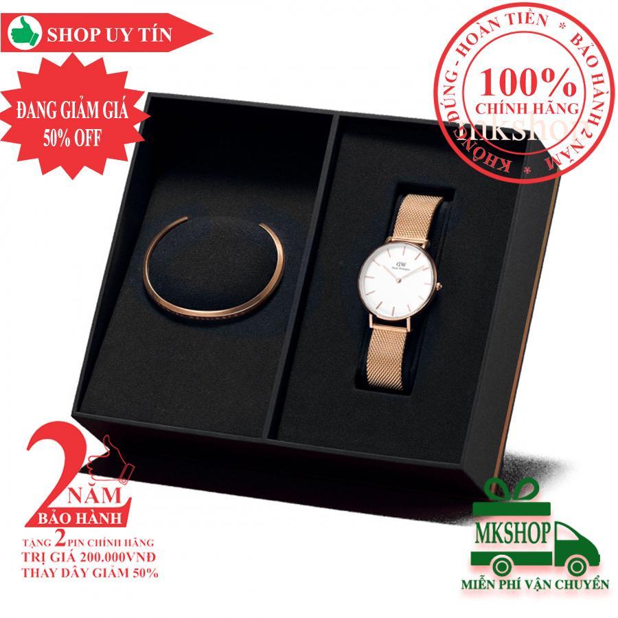 Hộp quà đồng hồ nữ Daniel Wellington Petite Melrose 32mm + Vòng tay DW Cuff - màu vàng hồng (Rose Gold), mặt trắng - DW00500019 bán chạy